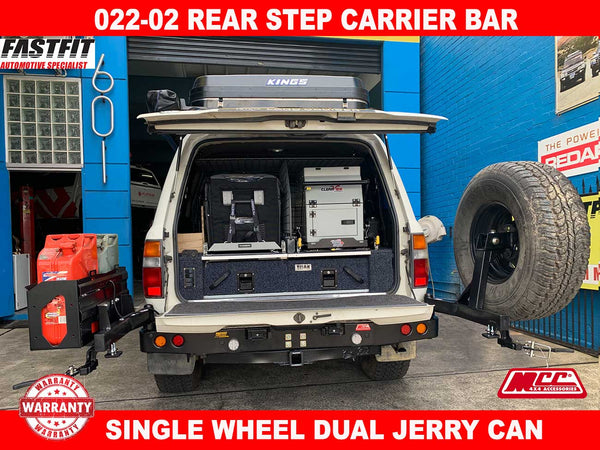 MCC 022-02 Rear Carrier Bar with Single Wheel & Double Jerry Can to suit Toyota LandCruiser 200s 12/2007-09/2015