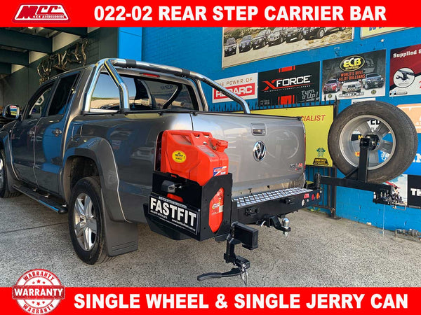 MCC 022-02 Rear Step Carrier Bar with Single Wheel Carrier & Single Jerry Can Holder to suit Volkswagen Amarok 03/2011-ON