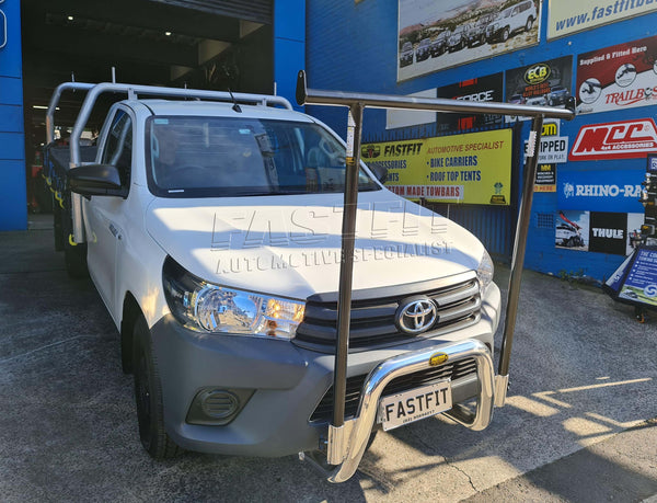 All Bars and Racks Polished Alloy Nudge Bar and Black H-Frame Rack to suit Toyota Hilux 2016