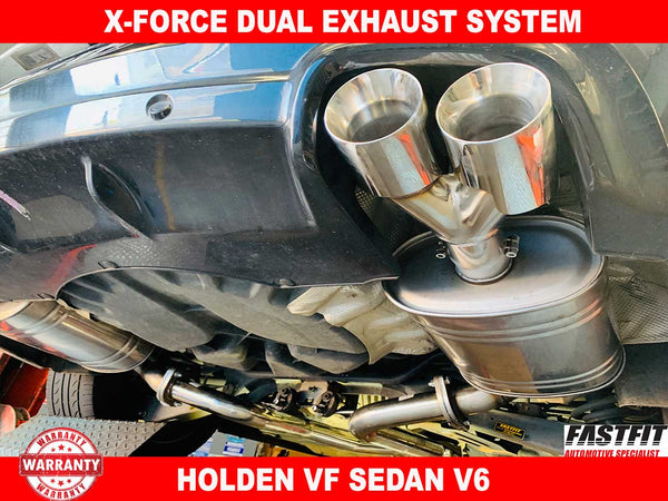 "X-FORCE Dual Exhaust System 3"" CATBACK to suit Holden VF Sedan V6 2016-2019"