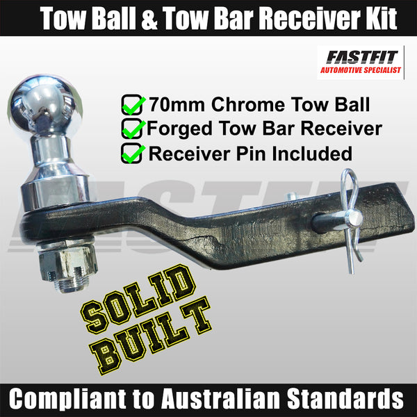 FastFit Heavy Duty 70mm Chrome Finish Tow Ball & Forged Tow Bar Receiver Kit