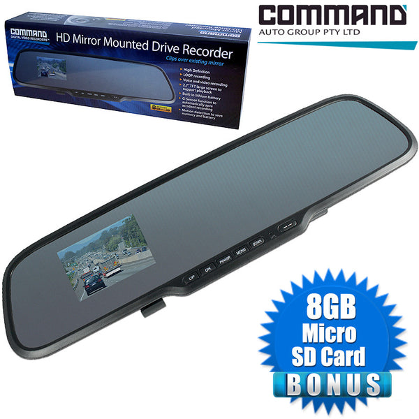 Command 1280 x 720 HD Mirror Mounted Clip Over Existing Mirror Camera
