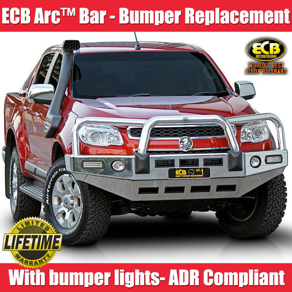 ECB Polished Alloy Bumper Replacement Bull Bar To Suit Holden Colorado UTE - 06/2012 ON