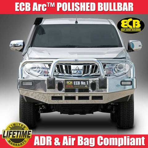 ECB Arc™ Polished Bull Bar With Bumper Lights To Suit Mitsubishi Triton MQ GLS & Exceed Models - 01/2015 ON
