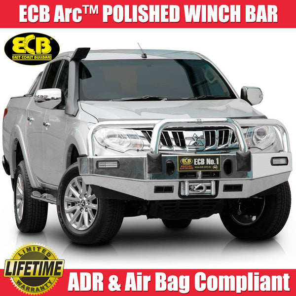ECB Arc™ Polished Winch Bull Bar With Bumper Lights To Suit Mitsubishi Triton MQ GLS & Exceed Models - 01/2015 ON