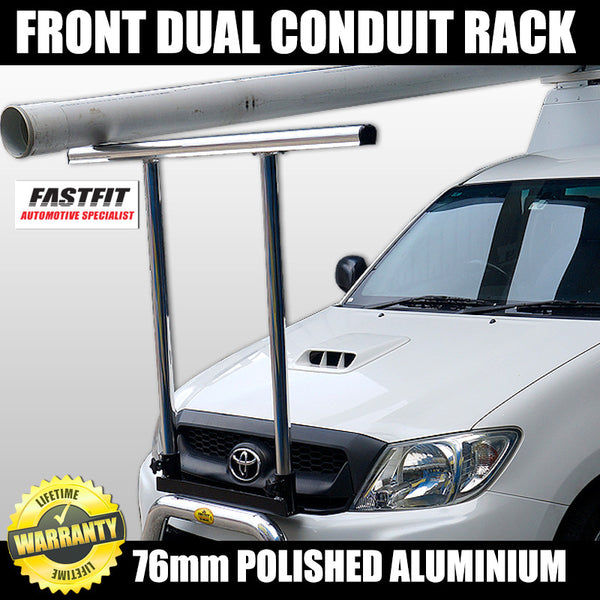 FastFit 76mm Polished Aluminium Dual Conduit Front Ladder Rack to suit Toyota Hilux 2WD - 2012 ON