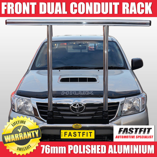 FastFit 76mm Polished Aluminium Dual Conduit Front Rack to Suit Toyota Hilux 4WD - 2012 ON