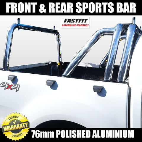 FastFit 76mm Polished Aluminium Twin Front & Single Rear Sports Bar to Suit Ford Ranger - 2012 ON