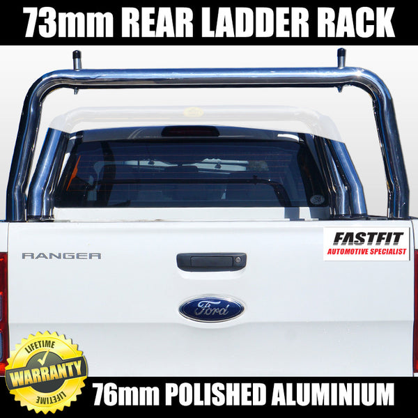 FastFit 76mm Polished Aluminium 73mm Rear Ladder Rack to Suit Ford Ranger - 2012 ON