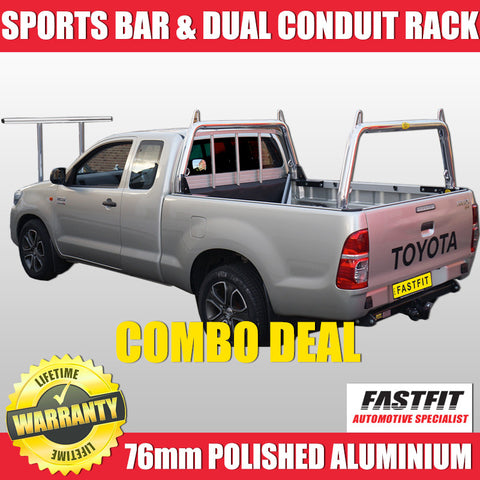FastFit 76mm Polished Aluminium Front & Rear Ladder Racks Plus Dual Conduit Front Rack to Suit Toyota Hilux - 2012 ON