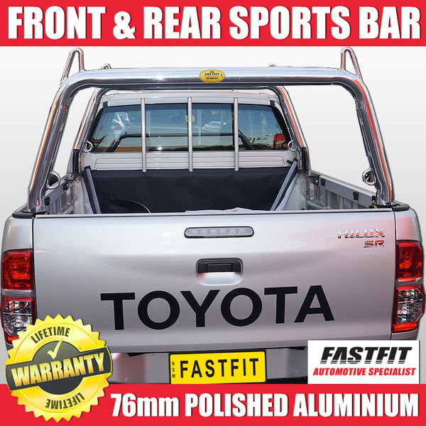 FastFit 76mm Polished Aluminium Ladder Racks to Suit Toyota Hilux - 2012 ON