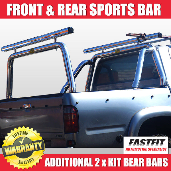 FastFit 76mm Polished Aluminium Front and Rear Sports Bar With Additional Kit Beam Bars to Suit Toyota Hilux 1997 - 2004
