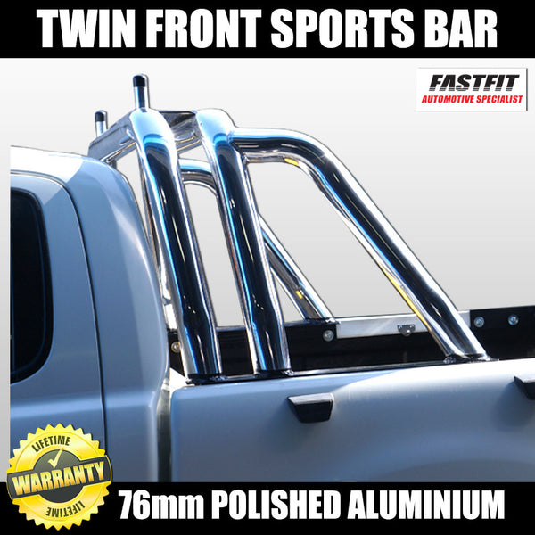 FastFit 76mm Polished Aluminium Twin Front Sports Bar to Suit Ford Ranger - 2012 ON