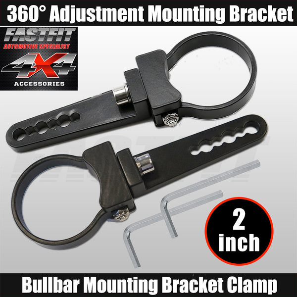 Fastfit Bullbar Nudge Bar Mounting Bracket Clamp For LED Light Bar Mount Pair - 2