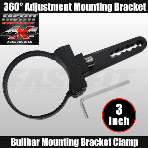 "Fastfit Bullbar Nudge Bar Mounting Bracket Clamp For LED Light Bar Mount - 3"" Diameter"