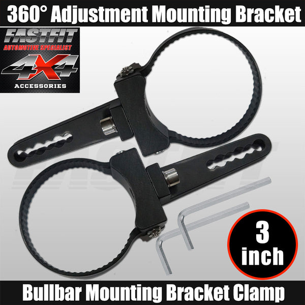 "Fastfit Bullbar Nudge Bar Mounting Bracket Clamp For LED Light Bar Mount Pair - 3"" Diameter"