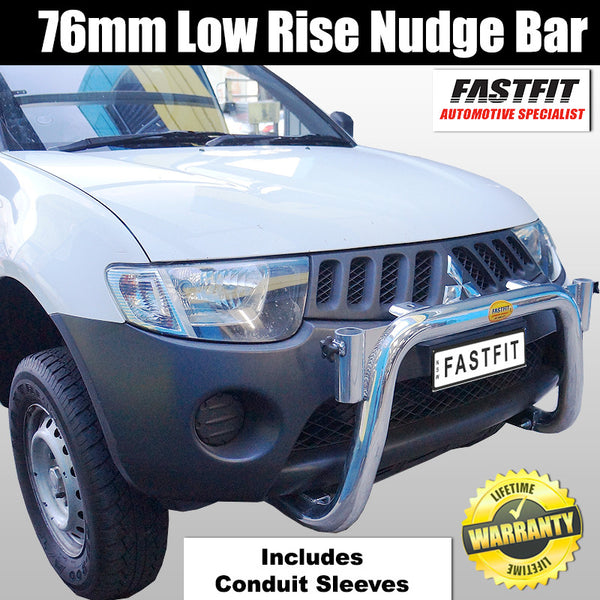 Fastfit 76mm Low-Rise Polished Nudge Bar With Conduit Sleeves to suit Mitsubishi Triton MN 09/2009-12/2014