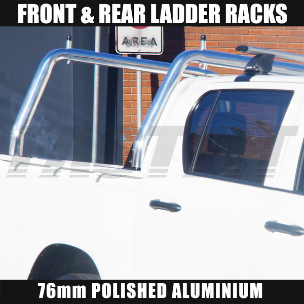 FastFit 76mm Polished Aluminium Ladder Racks to Suit Toyota Hilux - 2016 ON