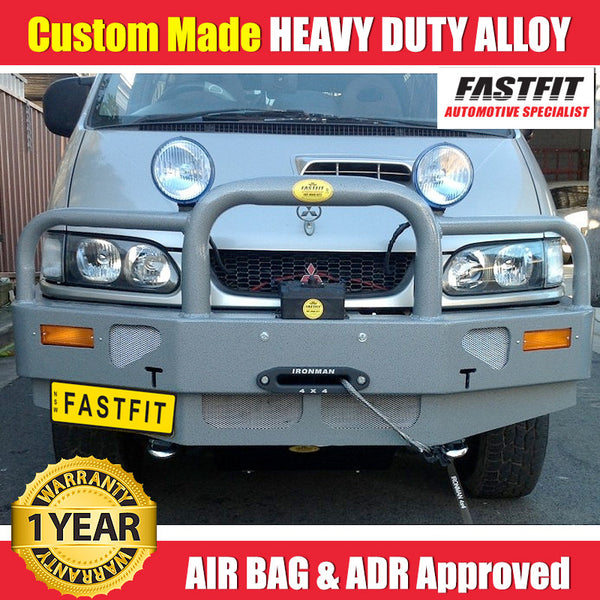 FastFit Charcoal Grey Powder Coated Alloy Bumper Replacement Bull Bar To Suit Mitsubishi Delica Series 2