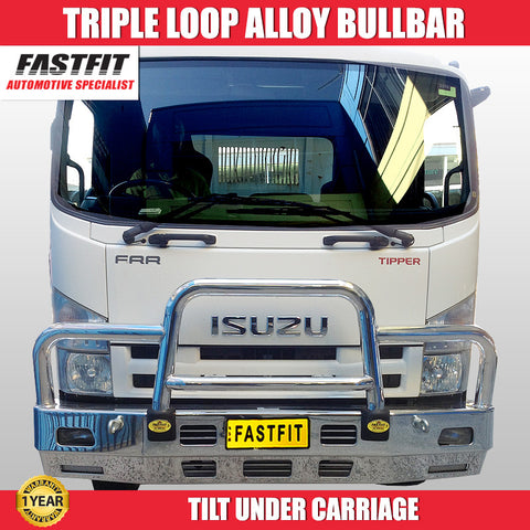 FastFit Triple Loop Polished Aluminium Heavy Duty BullBar To Suit Isuzu FRR Truck