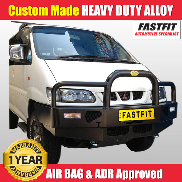 FastFit Black Powder Coated Alloy Bumper Replacement Bull Bar To Suit Mitsubishi Delica Series 2 2003