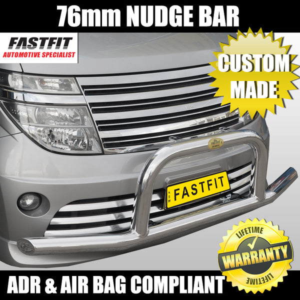 FastFit 76mm Polished Aluminum Custom Made Nudge Bar To Suit Nissan Elgrand E51