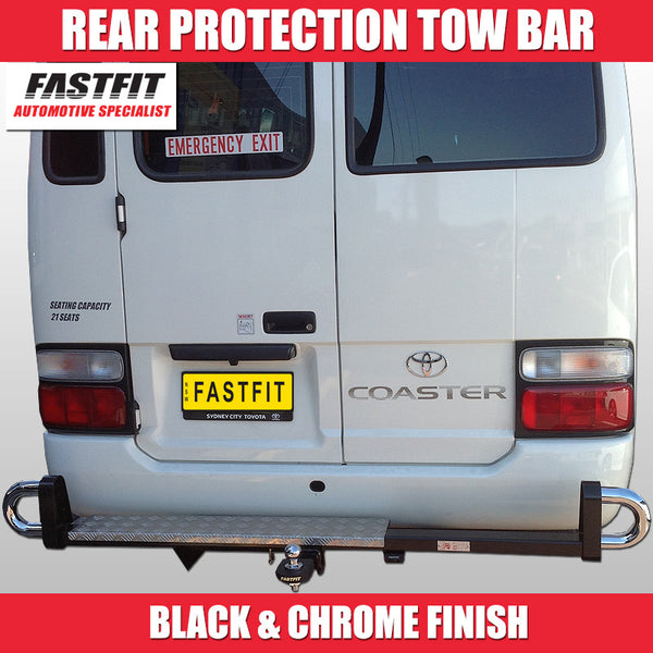 FastFit Black and Chrome Rear Hitch Protection Bar To Suit Toyota Coaster Bus -  08/2007 ON