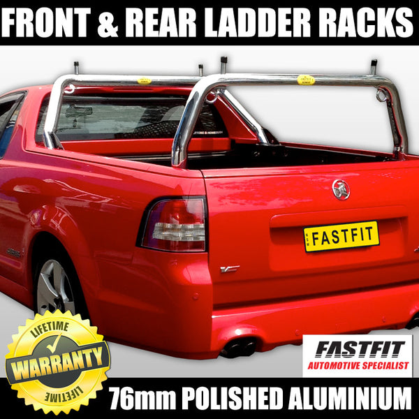 FastFit 76mm Polished Aluminium Ladder Racks to Suit Holden Commodore VE Ute - 10/2007 ON
