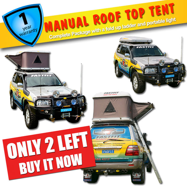 FastFit Manual Roof Top Tent Complete Package With Fold Up Ladder, Portable Light and More