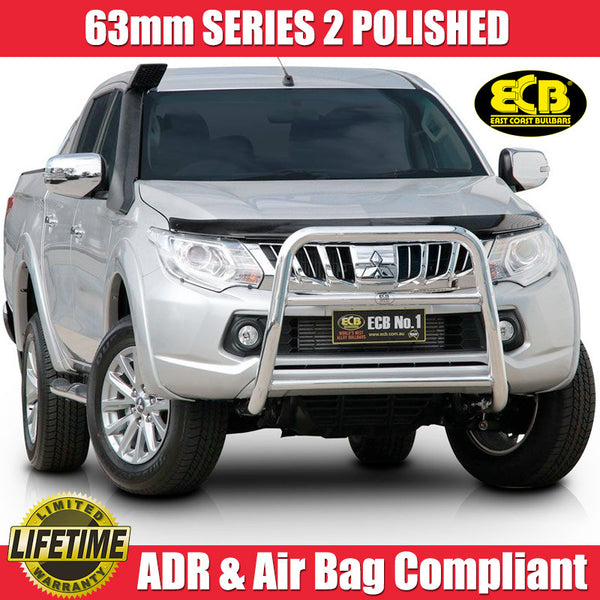 ECB 63mm Series 2 Polished Nudge Bar To Suit Mitsubishi Triton MQ GLS & Exceed Models - 01/2015 ON
