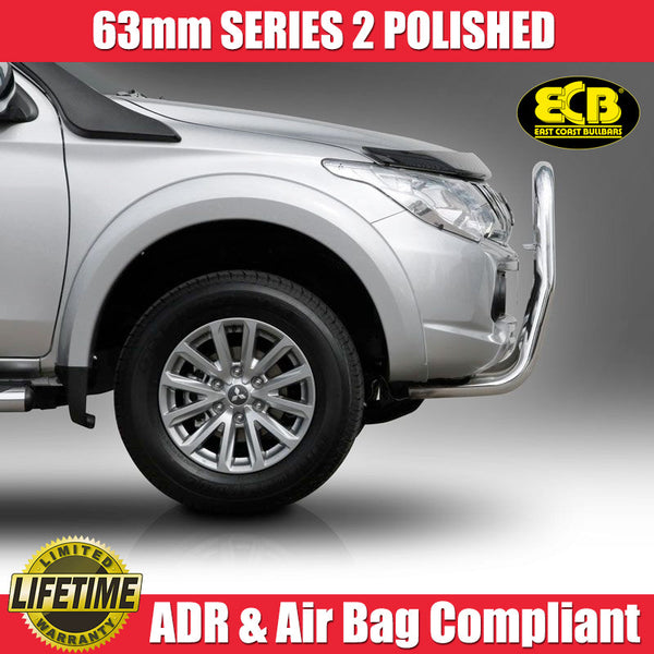 ECB 63mm Series 2 Polished Nudge Bar To Suit Mitsubishi Triton MQ GLS & Exceed Models 01/2015-ON