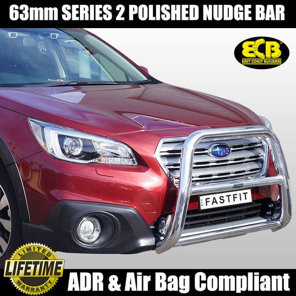 ECB 63mm Hi-Rise Polished Nudge Bar To Suit Subaru Outback - 2015 ON