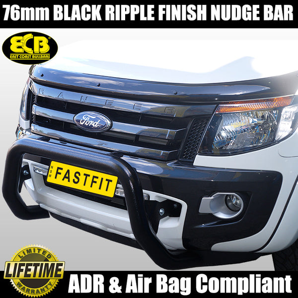 ECB 76mm Black Ripple Finish Nudge Bar to suit Ford Ranger PX-Mkl 4WD & 2WD High Rise 10/2011- 06/2015