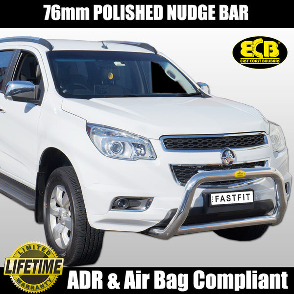 ECB 76mm Polished Alloy Nudge Bar To Suit Holden Colorado RG - 06/2012 ON