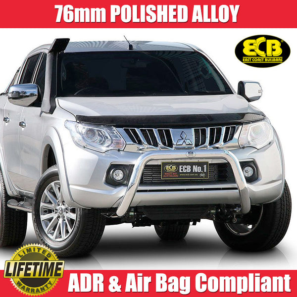 ECB 76mm Polished Nudge Bar To Suit Mitsubishi Triton MQ GLS & Exceed Models - 01/2015 ON