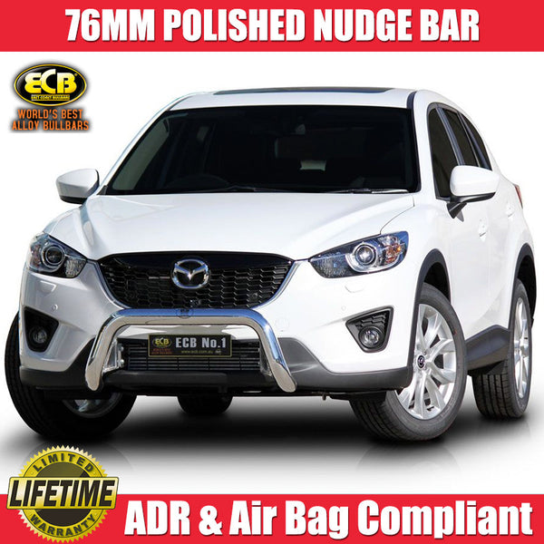 ECB 76mm Polished Alloy Nudge Bar to suit Mazda CX5 2012-ON