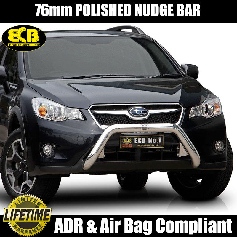 Ecb 76mm Polished Nudge Bar To Suit Subaru Xv 11 2012 On