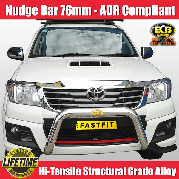 ECB 76mm Polished Alloy Nudge Bar to Suit Toyota Hilux  4WD - 2014