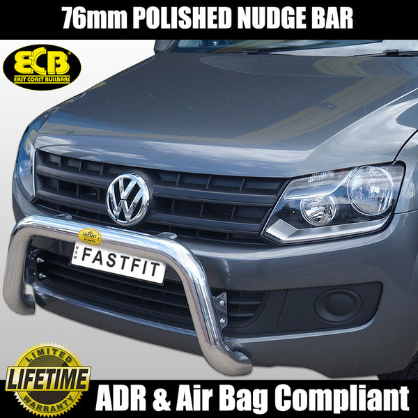 ECB 76MM Polished Alloy Nudge Bar To Suit Volkswagon Amarok Non Forward Parking Sensor Models -  2010 ON
