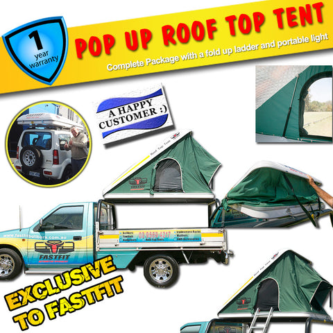 FastFit Pop Up Roof Top Tent Complete Package With Fold Up Ladder, Portable Light and More