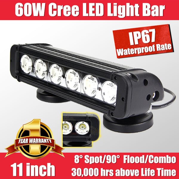 FastFit  60W 11 Inch Cree LED Work Light Bar Flood Spot OFF ROAD Driving Lamp