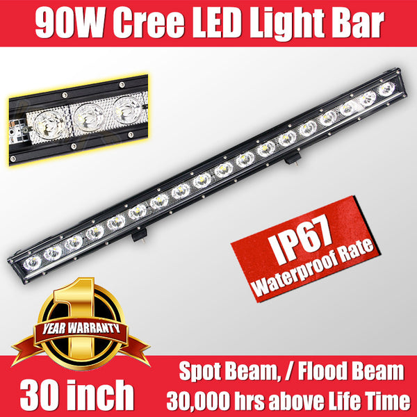 FastFit 90W 30 Inch Cree LED Work Light Bar Flood Spot OFFROAD Driving Lamp