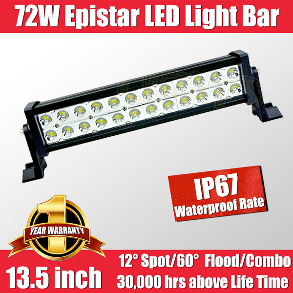 FastFit 72W 13.5 Inch Epistar LED Work Light Bar Flood Spot OFFROAD Driving Lamp