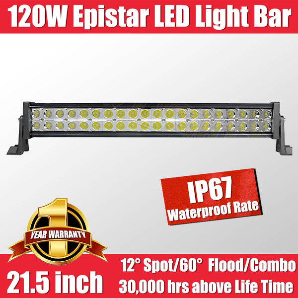 FastFit 120W 21.5 Inch Epistar LED Work Light Bar Flood Spot OFFROAD Driving Lamp