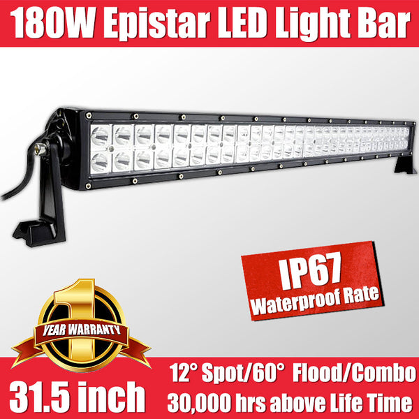 FastFit 180W 31.5Inch Epistar LED Work Light Bar Flood Spot OFFROAD Driving Lamp