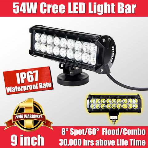 FastFit 54W 9 Inch Cree LED Work Light Bar Flood Spot OFFROAD Driving Lamp