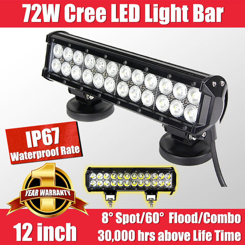 FastFit 72W 12 Inch Cree LED Work Light Bar Flood Spot OFFROAD Driving Lamp