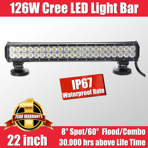 FastFit 126W 22 Inch Cree LED Work Light Bar Flood Spot OFFROAD Driving Lamp