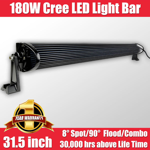 FastFit 180W 31.5 Inch Cree LED Work Light Bar Flood Spot OFFROAD Driving Lamp