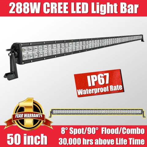FastFit 288W 50 Inch Cree LED Work Light Bar Flood Spot OFFROAD Driving Lamp